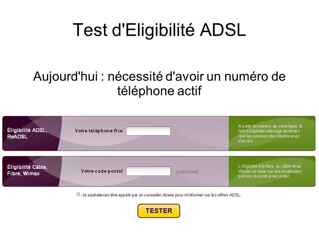 Test d'Eligibilité ADSL Aujourd'hui : nécessité d'avoir un numéro de téléphone actif