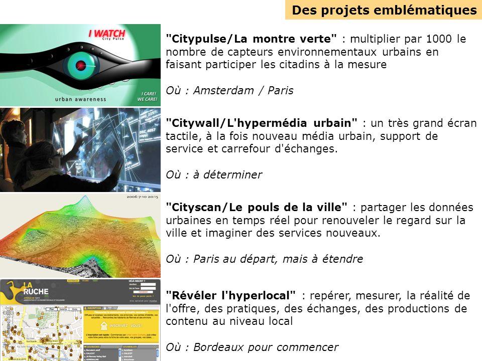 Des projets emblématiques Citypulse/La montre verte : multiplier par 1000 le nombre de capteurs environnementaux urbains en faisant participer les citadins à la mesure Où : Amsterdam / Paris Citywall/L hypermédia urbain : un très grand écran tactile, à la fois nouveau média urbain, support de service et carrefour d échanges.