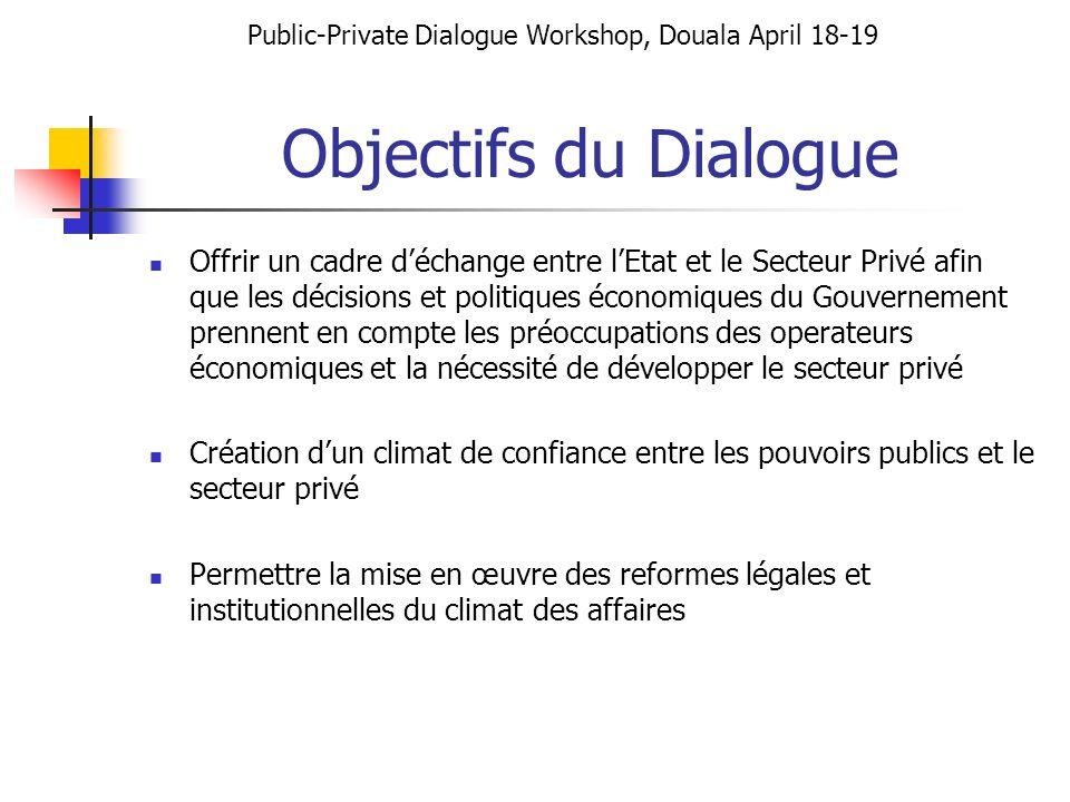 Objectifs du Dialogue Offrir un cadre déchange entre lEtat et le Secteur Privé afin que les décisions et politiques économiques du Gouvernement prenne