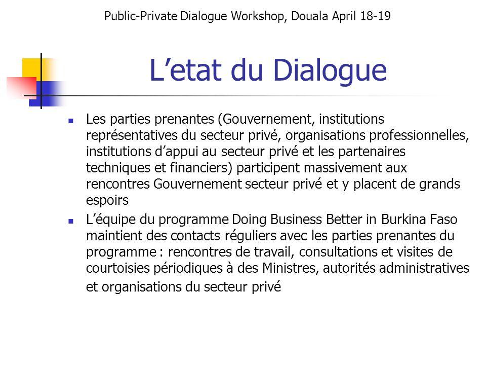 Letat du Dialogue Les parties prenantes (Gouvernement, institutions représentatives du secteur privé, organisations professionnelles, institutions dap