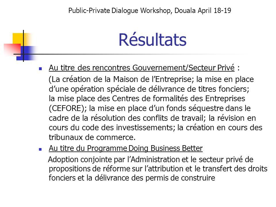 Résultats Au titre des rencontres Gouvernement/Secteur Privé : (La création de la Maison de lEntreprise; la mise en place dune opération spéciale de d