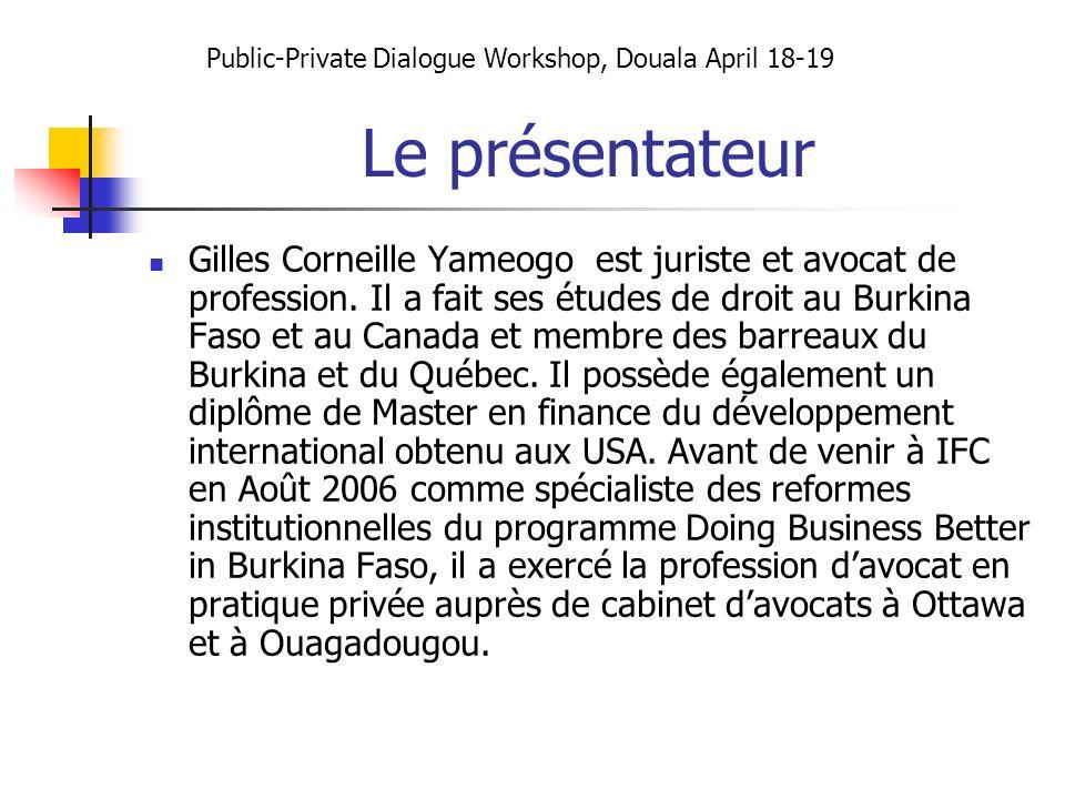 Le présentateur Gilles Corneille Yameogo est juriste et avocat de profession. Il a fait ses études de droit au Burkina Faso et au Canada et membre des