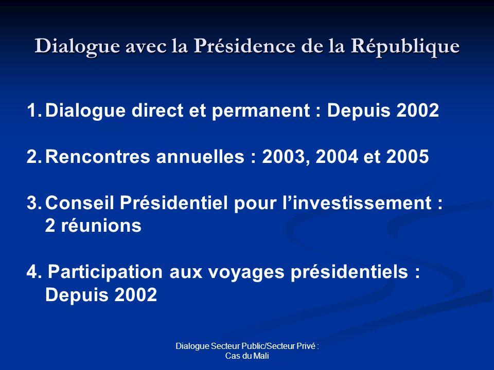 Dialogue Secteur Public/Secteur Privé : Cas du Mali Dialogue avec la Présidence de la République 1.Dialogue direct et permanent : Depuis 2002 2.Rencon