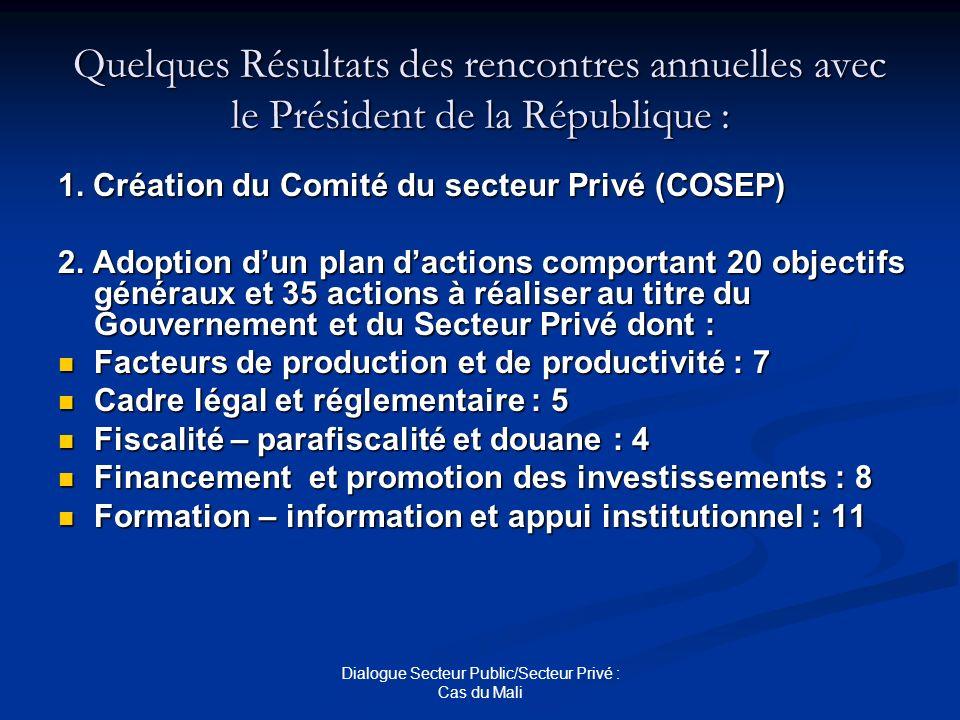 Dialogue Secteur Public/Secteur Privé : Cas du Mali Quelques Résultats des rencontres annuelles avec le Président de la République : 1. Création du Co