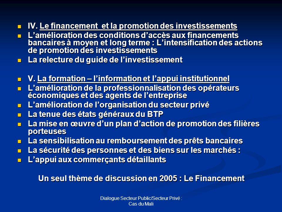 Dialogue Secteur Public/Secteur Privé : Cas du Mali IV. Le financement et la promotion des investissements IV. Le financement et la promotion des inve