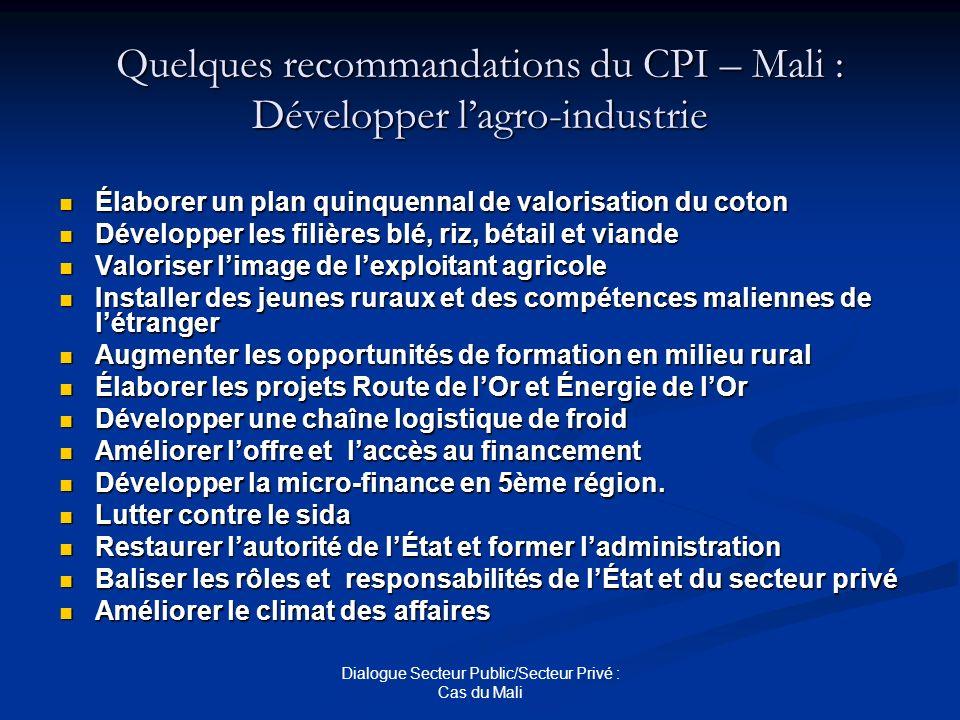 Dialogue Secteur Public/Secteur Privé : Cas du Mali Quelques recommandations du CPI – Mali : Développer lagro-industrie Élaborer un plan quinquennal d