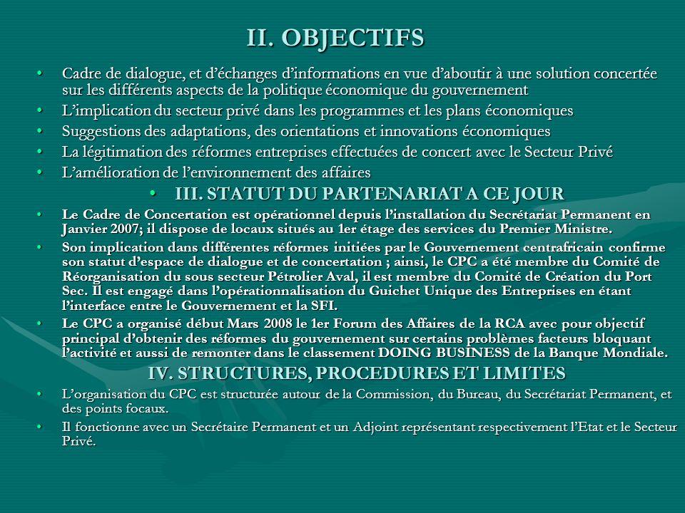 II. OBJECTIFS II. OBJECTIFS Cadre de dialogue, et déchanges dinformations en vue daboutir à une solution concertée sur les différents aspects de la po