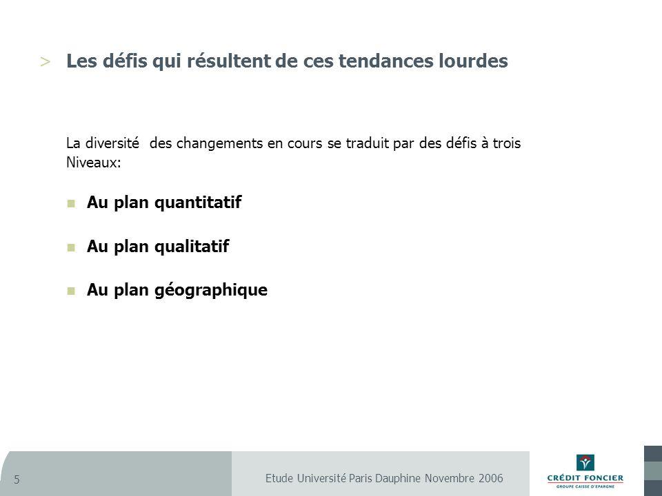Etude Université Paris Dauphine Novembre 2006 5 >Les défis qui résultent de ces tendances lourdes La diversité des changements en cours se traduit par des défis à trois Niveaux: Au plan quantitatif Au plan qualitatif Au plan géographique