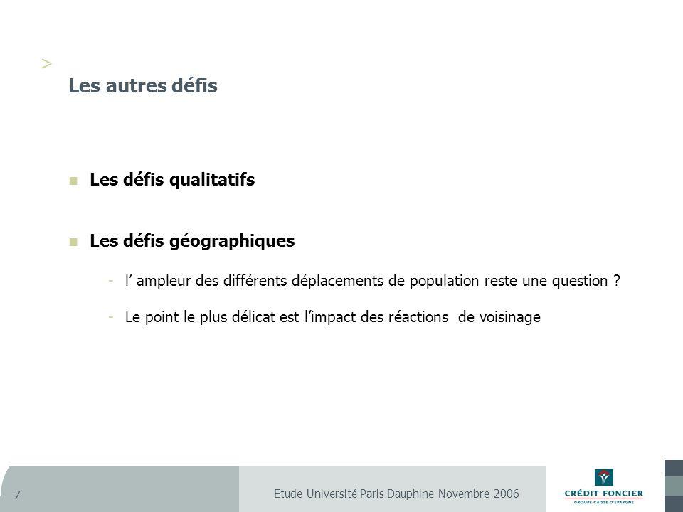 Etude Université Paris Dauphine Novembre 2006 7 > Les autres défis Les défis qualitatifs Les défis géographiques -l ampleur des différents déplacements de population reste une question .