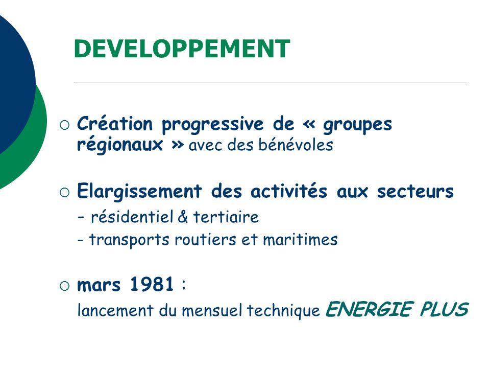 DEVELOPPEMENT Création progressive de « groupes régionaux » avec des bénévoles Elargissement des activités aux secteurs - résidentiel & tertiaire - tr