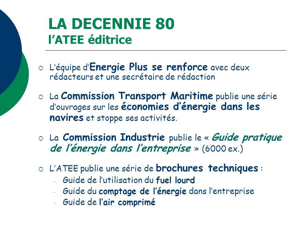 LA DECENNIE 80 lATEE éditrice Léquipe d Energie Plus se renforce avec deux rédacteurs et une secrétaire de rédaction La Commission Transport Maritime