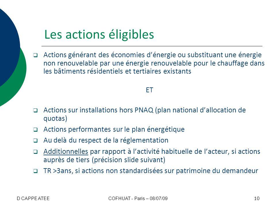 Les actions éligibles Actions générant des économies dénergie ou substituant une énergie non renouvelable par une énergie renouvelable pour le chauffa