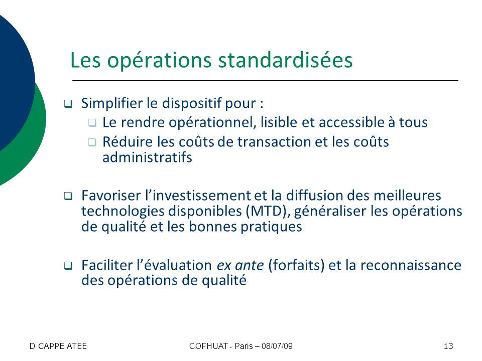 Les opérations standardisées Simplifier le dispositif pour : Le rendre opérationnel, lisible et accessible à tous Réduire les coûts de transaction et
