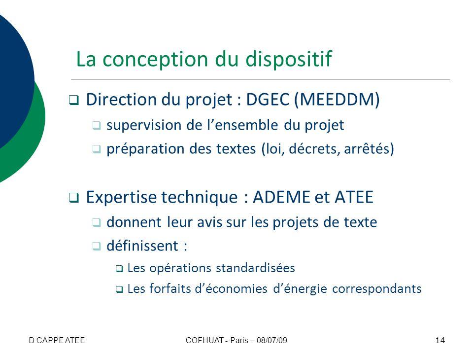 La conception du dispositif Direction du projet : DGEC (MEEDDM) supervision de lensemble du projet préparation des textes (loi, décrets, arrêtés) Expe
