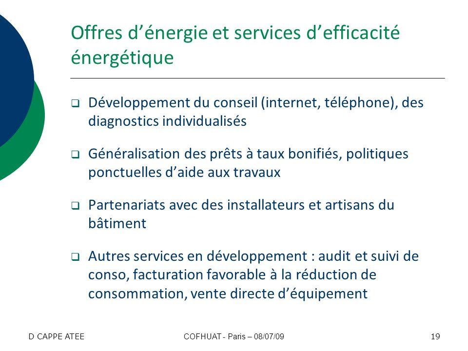 Offres dénergie et services defficacité énergétique Développement du conseil (internet, téléphone), des diagnostics individualisés Généralisation des