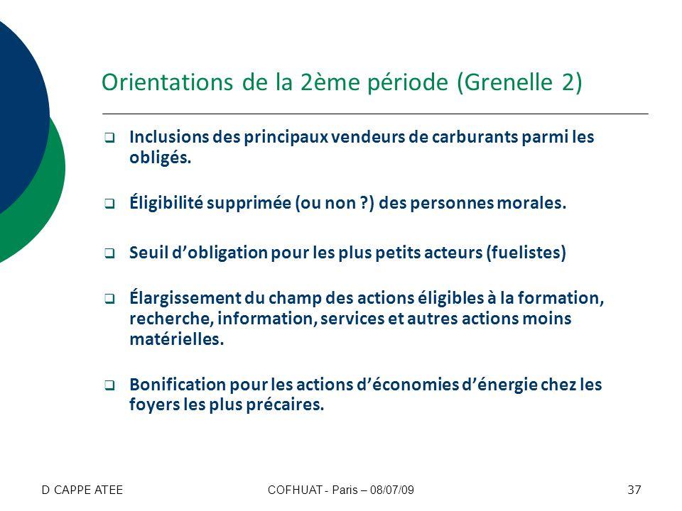 Orientations de la 2ème période (Grenelle 2) Inclusions des principaux vendeurs de carburants parmi les obligés. Éligibilité supprimée (ou non ?) des