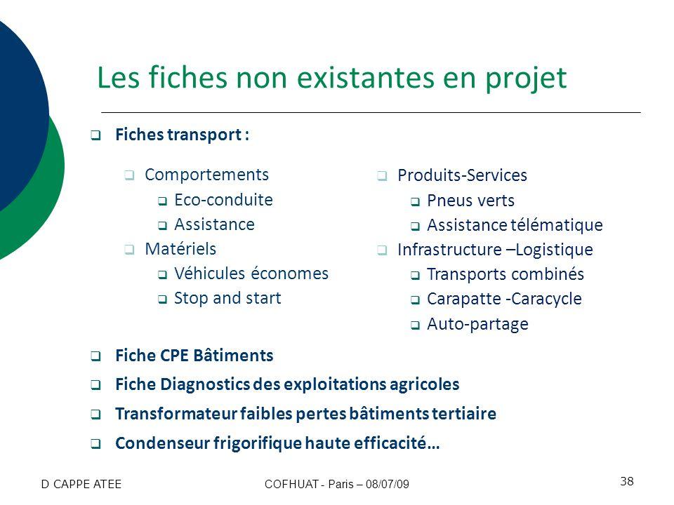Les fiches non existantes en projet Fiches transport : Comportements Eco-conduite Assistance Matériels Véhicules économes Stop and start Fiche CPE Bât