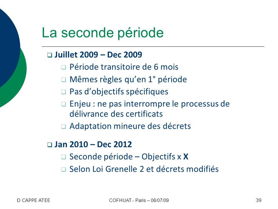 La seconde période Juillet 2009 – Dec 2009 Période transitoire de 6 mois Mêmes règles quen 1° période Pas dobjectifs spécifiques Enjeu : ne pas interr