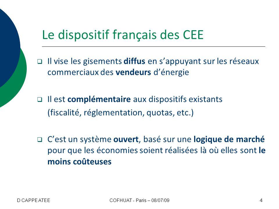 Le dispositif français des CEE Il vise les gisements diffus en sappuyant sur les réseaux commerciaux des vendeurs dénergie Il est complémentaire aux d