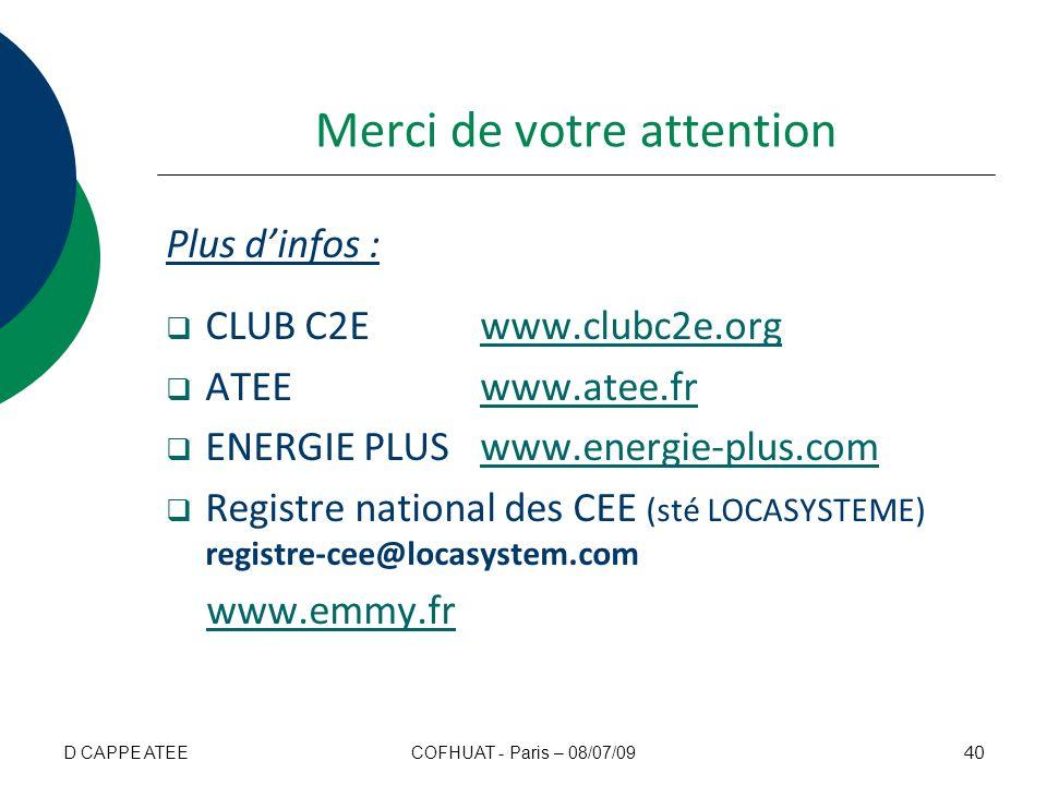 Merci de votre attention Plus dinfos : CLUB C2E www.clubc2e.orgwww.clubc2e.org ATEEwww.atee.frwww.atee.fr ENERGIE PLUSwww.energie-plus.comwww.energie-