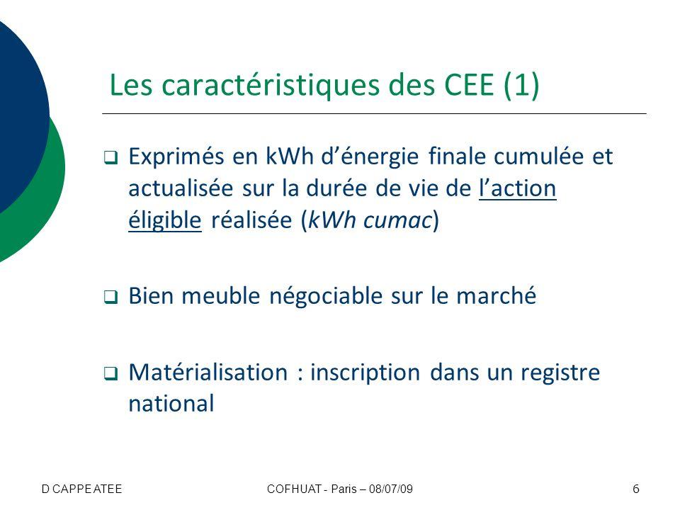 Les caractéristiques des CEE (2) La valeur des CEE est doublée dans les zones non interconnectées au réseau électrique métropolitain continental Durée de validité de 3 périodes Délivrance par lÉtat (DRIRE) 7 COFHUAT - Paris – 08/07/09D CAPPE ATEE