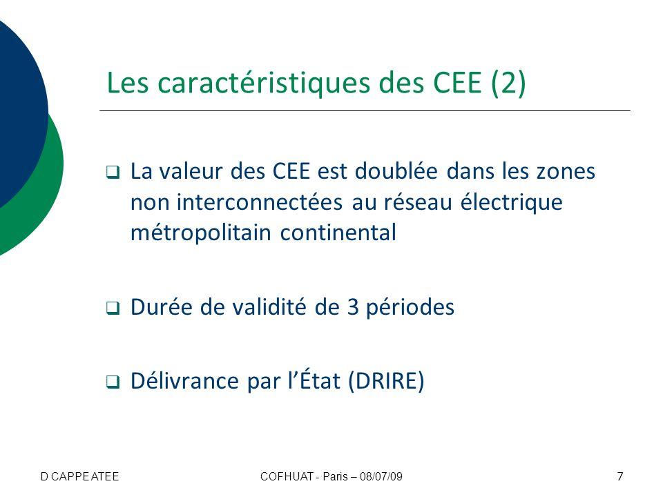Les caractéristiques des CEE (2) La valeur des CEE est doublée dans les zones non interconnectées au réseau électrique métropolitain continental Durée