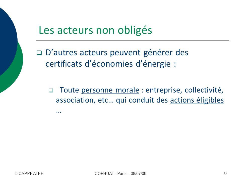 Merci de votre attention Plus dinfos : CLUB C2E www.clubc2e.orgwww.clubc2e.org ATEEwww.atee.frwww.atee.fr ENERGIE PLUSwww.energie-plus.comwww.energie-plus.com Registre national des CEE (sté LOCASYSTEME) registre-cee@locasystem.com www.emmy.fr 40 COFHUAT - Paris – 08/07/09D CAPPE ATEE