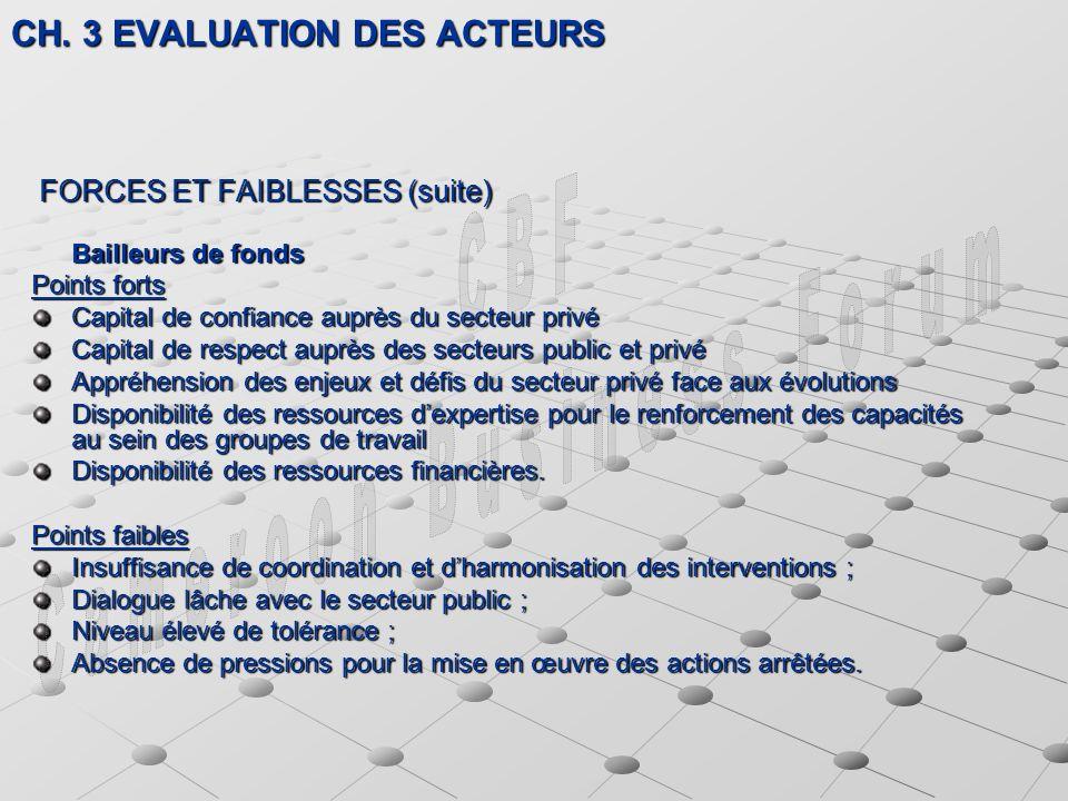 CH. 3 EVALUATION DES ACTEURS CH.