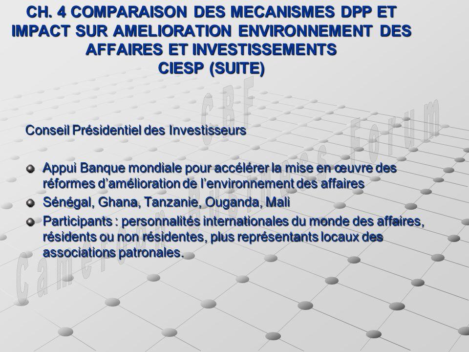 CH. 4 COMPARAISON DES MECANISMES DPP ET IMPACT SUR AMELIORATION ENVIRONNEMENT DES AFFAIRES ET INVESTISSEMENTS CIESP (SUITE) Conseil Présidentiel des I