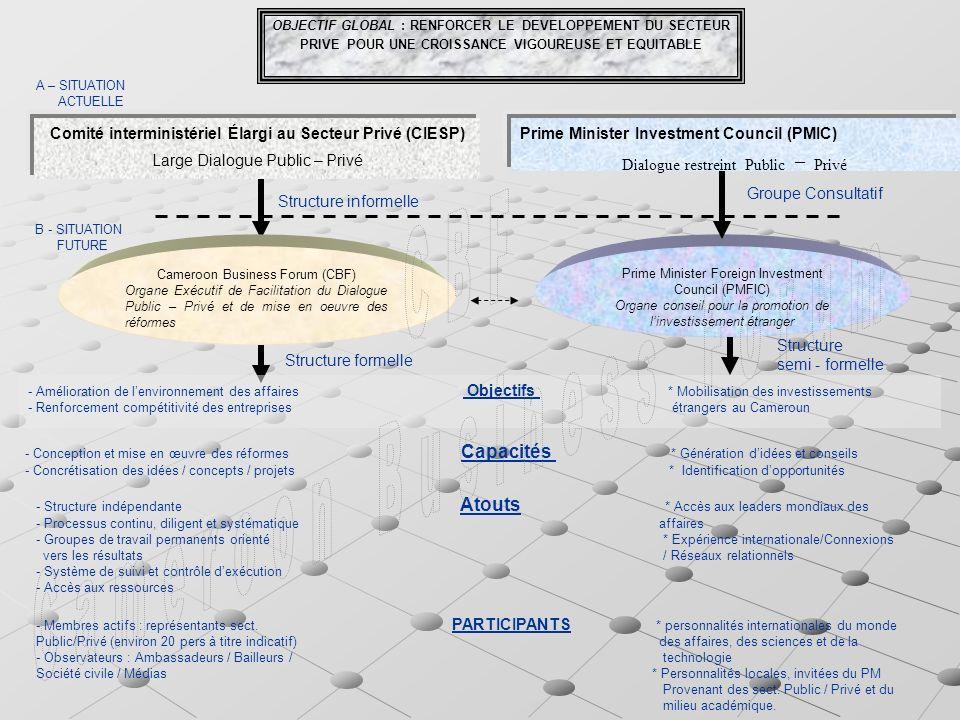 OBJECTIF GLOBAL : RENFORCER LE DEVELOPPEMENT DU SECTEUR PRIVE POUR UNE CROISSANCE VIGOUREUSE ET EQUITABLE Comité interministériel Élargi au Secteur Privé (CIESP) Large Dialogue Public – Privé Prime Minister Investment Council (PMIC) – Dialogue restreint Public – Privé Cameroon Business Forum (CBF) Organe Exécutif de Facilitation du Dialogue Public – Privé et de mise en oeuvre des réformes Prime Minister Foreign Investment Council (PMFIC) Organe conseil pour la promotion de linvestissement étranger A – SITUATION ACTUELLE B - SITUATION FUTURE Structure informelle Groupe Consultatif Structure semi - formelle Structure formelle - Amélioration de lenvironnement des affaires Objectifs * Mobilisation des investissements - Renforcement compétitivité des entreprises étrangers au Cameroun - Structure indépendante Atouts * Accès aux leaders mondiaux des - Processus continu, diligent et systématique affaires - Groupes de travail permanents orienté * Expérience internationale/Connexions vers les résultats / Réseaux relationnels - Système de suivi et contrôle dexécution - Accès aux ressources - Conception et mise en œuvre des réformes Capacités * Génération didées et conseils - Concrétisation des idées / concepts / projets * Identification dopportunités - Membres actifs : représentants sect.