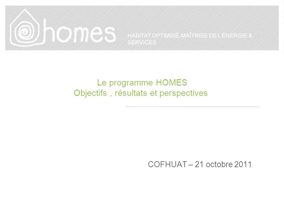HABITAT OPTIMISÉ, MAÎTRISE DE LÉNERGIE & SERVICES Le programme HOMES Objectifs, résultats et perspectives COFHUAT – 21 octobre 2011