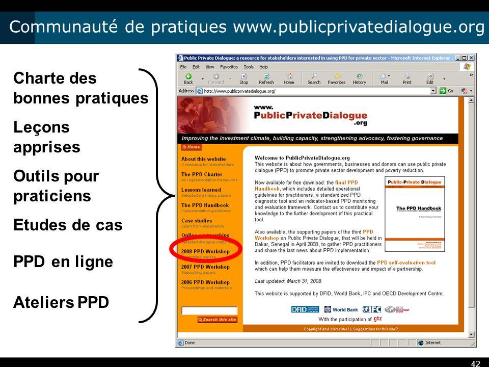 Communauté de pratiques www.publicprivatedialogue.org 42 Charte des bonnes pratiques Leçons apprises Outils pour praticiens Etudes de cas PPD en ligne Ateliers PPD