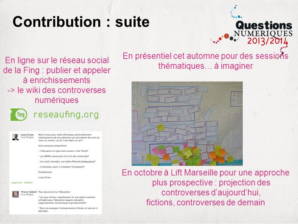 Contribution : suite En ligne sur le réseau social de la Fing : publier et appeler à enrichissements -> le wiki des controverses numériques En présent