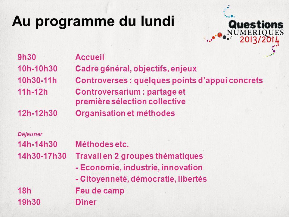 Au programme du lundi 9h30 Accueil 10h-10h30Cadre général, objectifs, enjeux 10h30-11hControverses : quelques points dappui concrets 11h-12hControvers