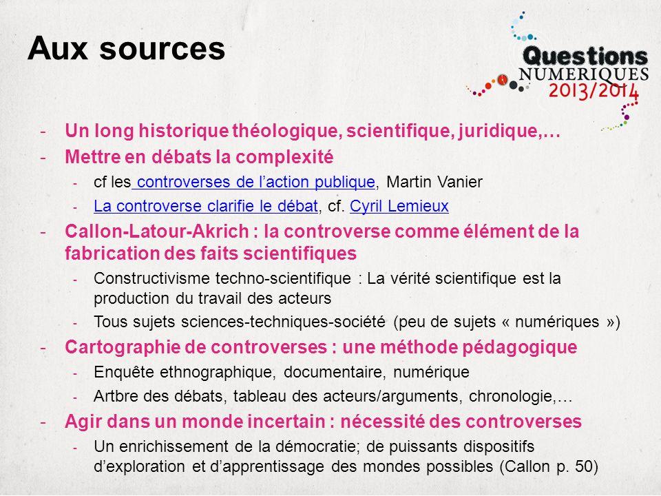 Aux sources -Un long historique théologique, scientifique, juridique,… -Mettre en débats la complexité - cf les controverses de laction publique, Mart