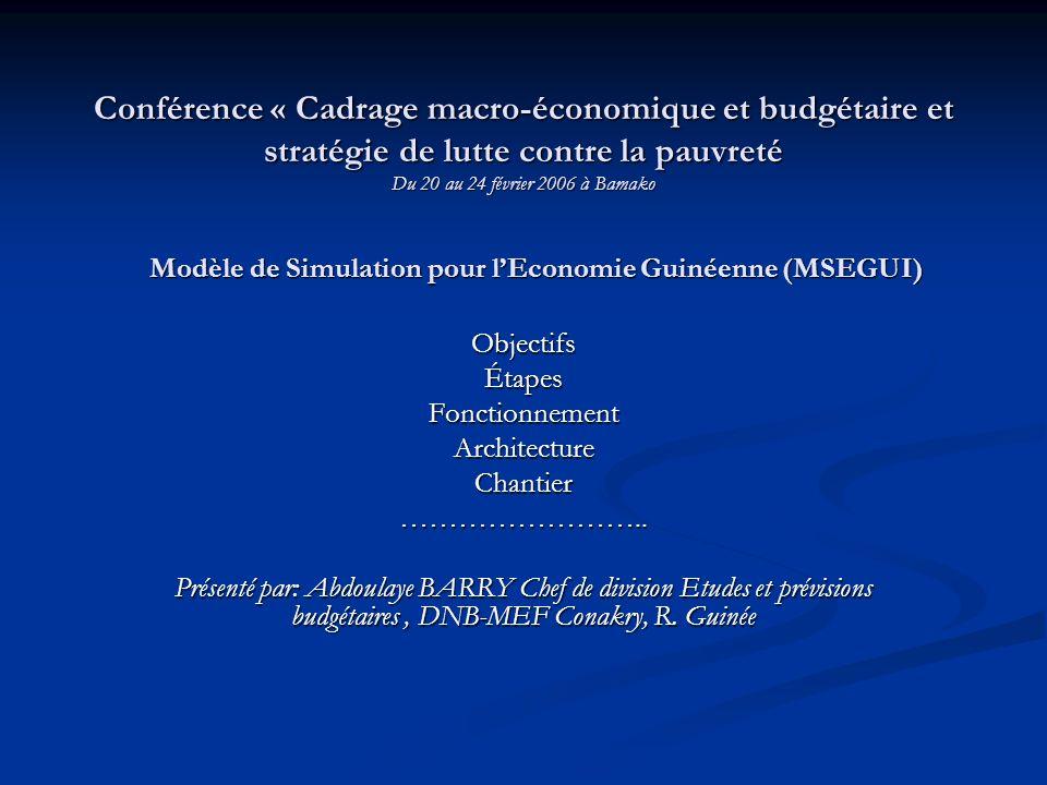 Conférence « Cadrage macro-économique et budgétaire et stratégie de lutte contre la pauvreté Du 20 au 24 février 2006 à Bamako ObjectifsÉtapesFonctionnementArchitectureChantier……………………..