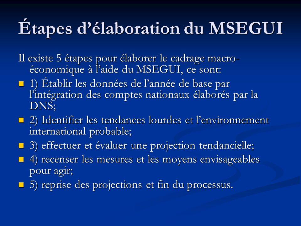 Étapes délaboration du MSEGUI Il existe 5 étapes pour élaborer le cadrage macro- économique à laide du MSEGUI, ce sont: 1) Établir les données de lann