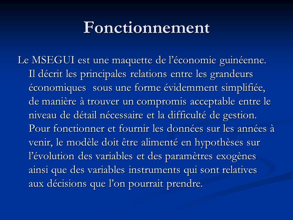 Fonctionnement Le MSEGUI est une maquette de léconomie guinéenne. Il décrit les principales relations entre les grandeurs économiques sous une forme é