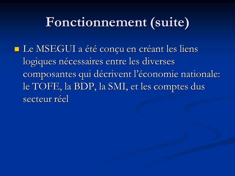 Fonctionnement (suite) Le MSEGUI a été conçu en créant les liens logiques nécessaires entre les diverses composantes qui décrivent léconomie nationale: le TOFE, la BDP, la SMI, et les comptes dus secteur réel Le MSEGUI a été conçu en créant les liens logiques nécessaires entre les diverses composantes qui décrivent léconomie nationale: le TOFE, la BDP, la SMI, et les comptes dus secteur réel