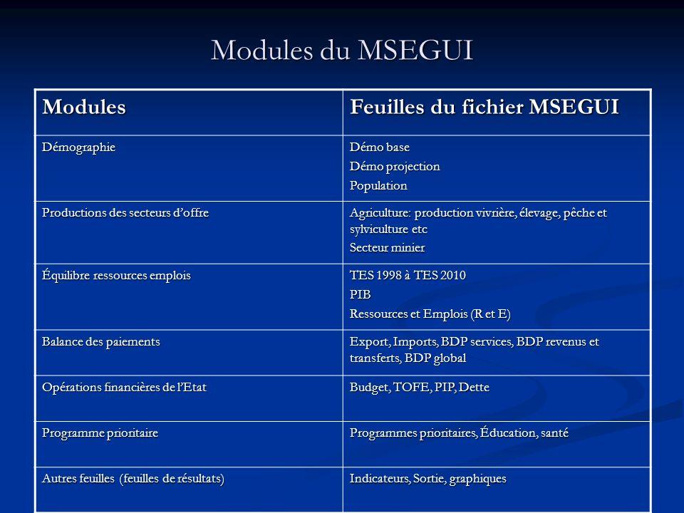 Modules du MSEGUI Modules Feuilles du fichier MSEGUI Démographie Démo base Démo projection Population Productions des secteurs doffre Agriculture: pro