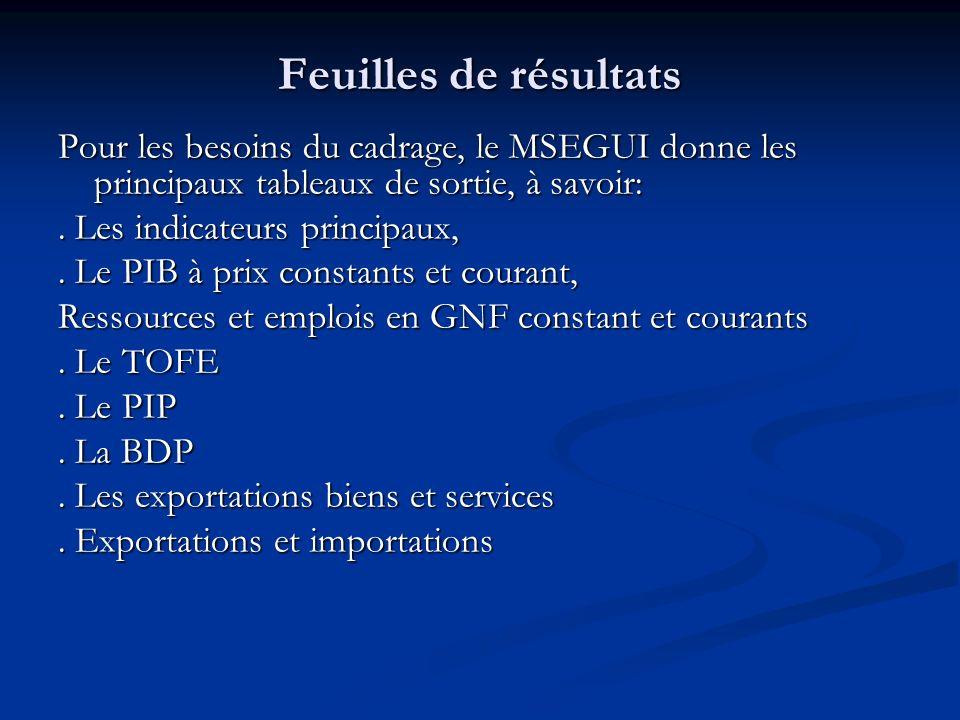 Feuilles de résultats Pour les besoins du cadrage, le MSEGUI donne les principaux tableaux de sortie, à savoir:. Les indicateurs principaux,. Le PIB à