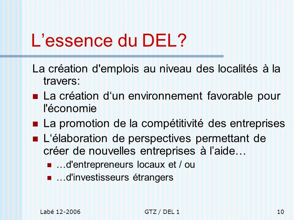Labé 12-2006GTZ / DEL 110 Lessence du DEL? La création d'emplois au niveau des localités à la travers: La création dun environnement favorable pour l'