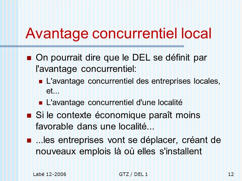 Labé 12-2006GTZ / DEL 112 Avantage concurrentiel local On pourrait dire que le DEL se définit par l'avantage concurrentiel: L'avantage concurrentiel d