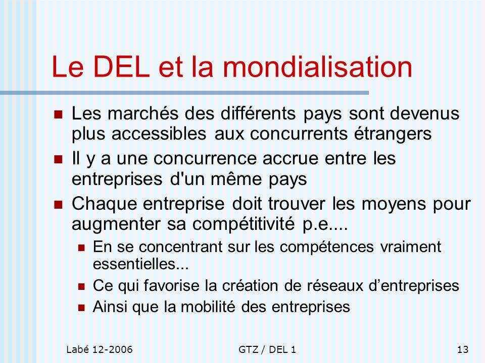 Labé 12-2006GTZ / DEL 113 Le DEL et la mondialisation Les marchés des différents pays sont devenus plus accessibles aux concurrents étrangers Il y a u