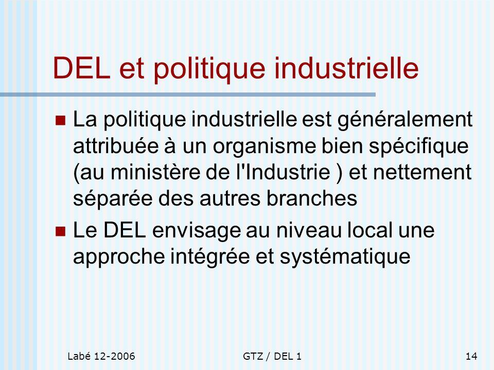 Labé 12-2006GTZ / DEL 114 DEL et politique industrielle La politique industrielle est généralement attribuée à un organisme bien spécifique (au minist