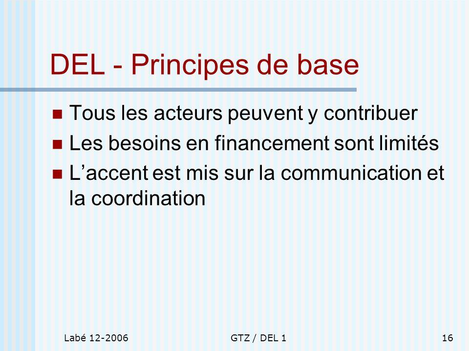 Labé 12-2006GTZ / DEL 116 DEL - Principes de base Tous les acteurs peuvent y contribuer Les besoins en financement sont limités Laccent est mis sur la