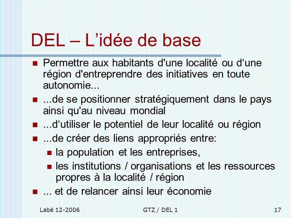 Labé 12-2006GTZ / DEL 117 DEL – Lidée de base Permettre aux habitants d'une localité ou dune région d'entreprendre des initiatives en toute autonomie.