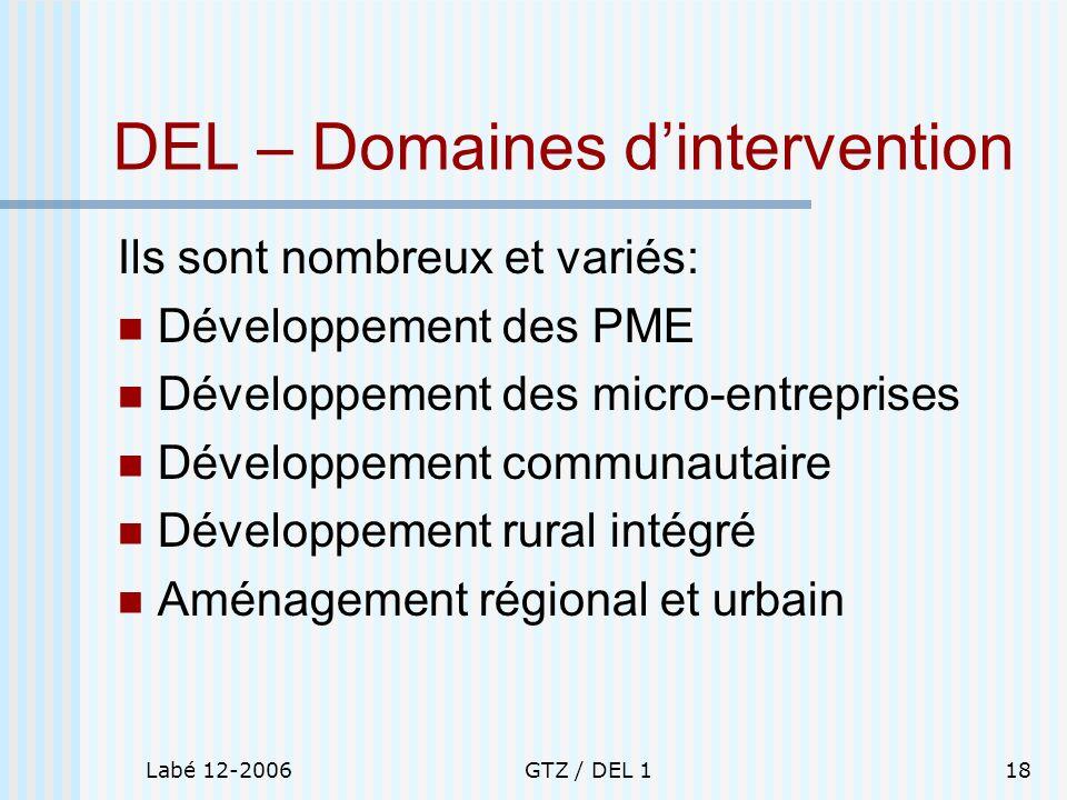Labé 12-2006GTZ / DEL 118 DEL – Domaines dintervention Ils sont nombreux et variés: Développement des PME Développement des micro-entreprises Développ