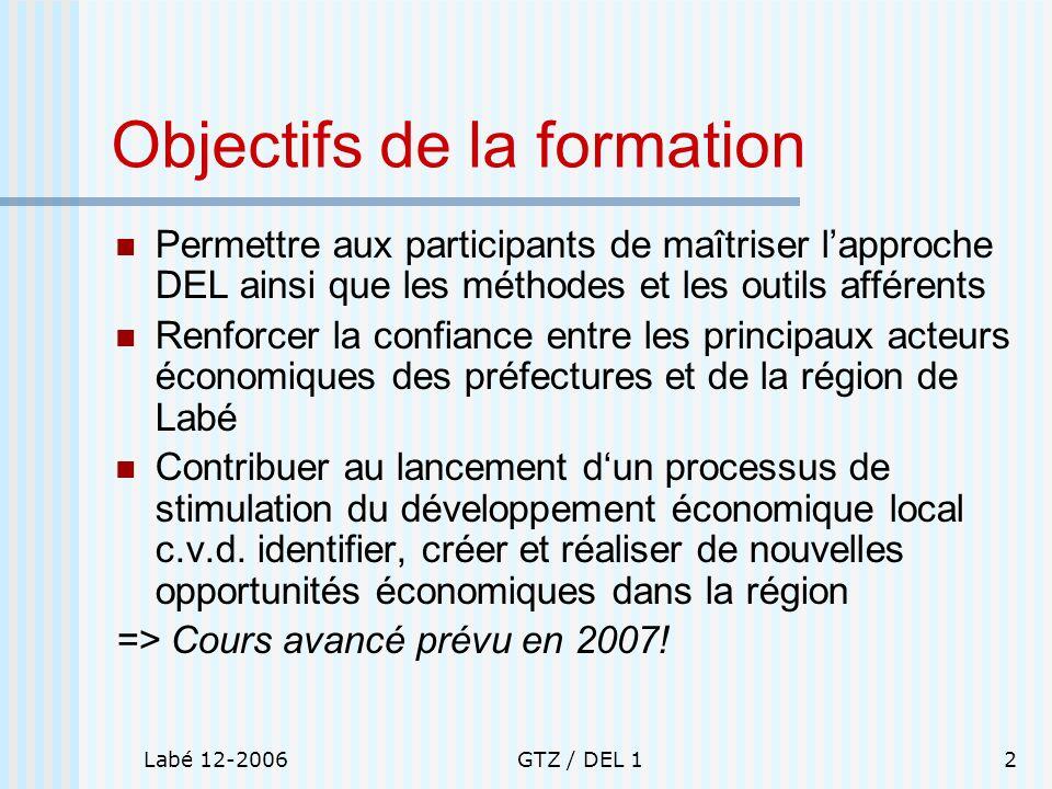 Labé 12-2006GTZ / DEL 12 Objectifs de la formation Permettre aux participants de maîtriser lapproche DEL ainsi que les méthodes et les outils afférent