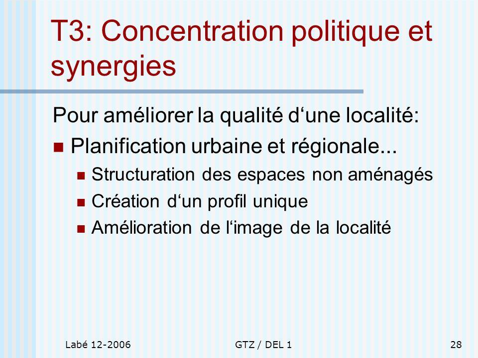 Labé 12-2006GTZ / DEL 128 T3: Concentration politique et synergies Pour améliorer la qualité dune localité: Planification urbaine et régionale... Stru